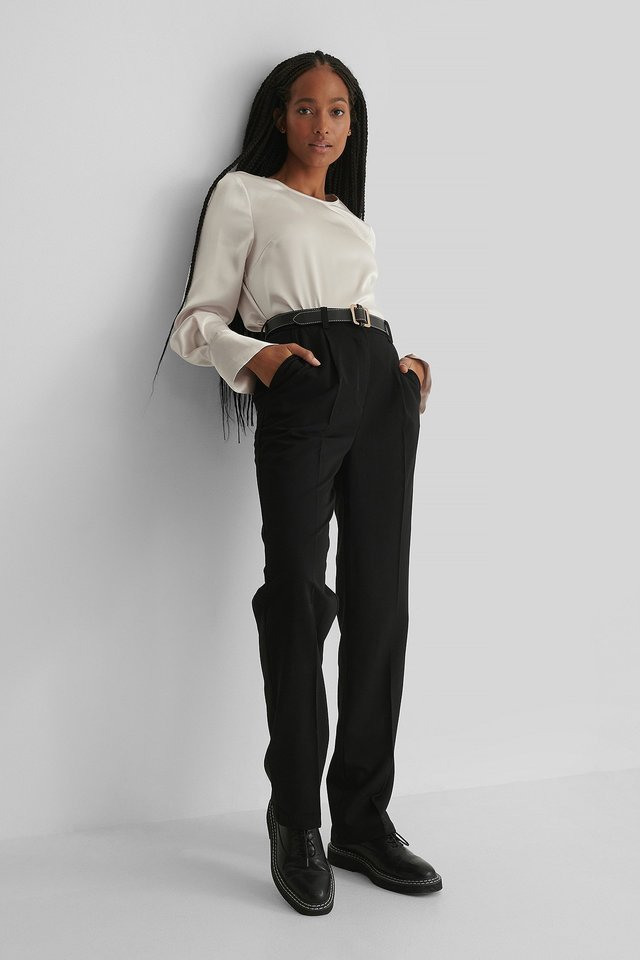 Wide Cuff Satin Blouse Outfit.