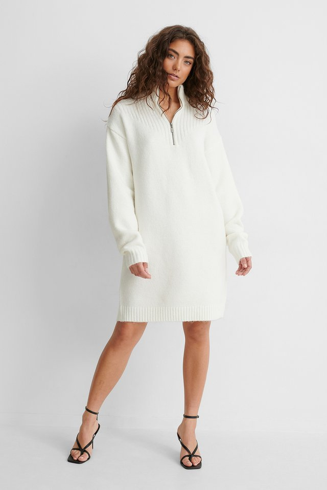 Zip Detail Knitted Dress Outfit!