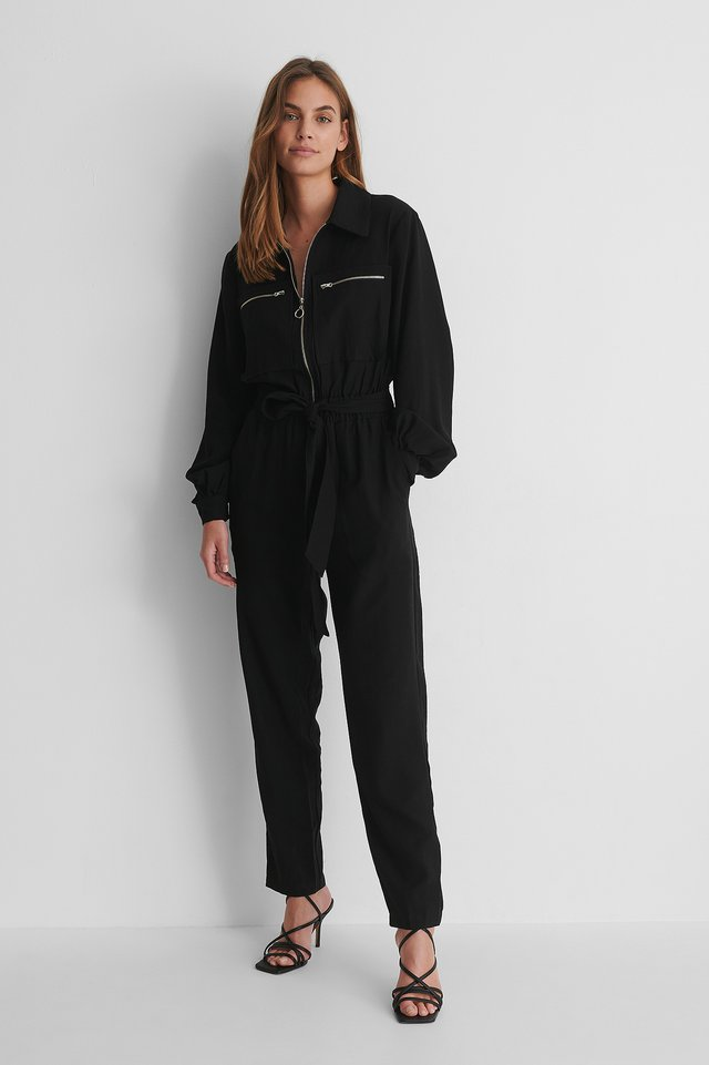 Fitted Pocket. Jumpsuit with Strap Heels.