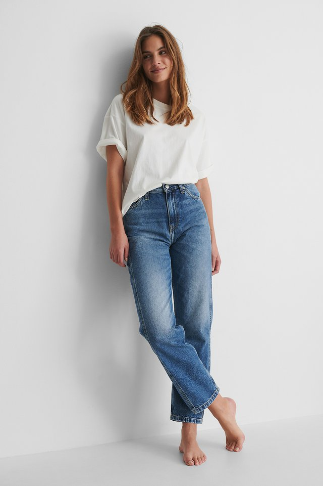 Calvin Klein High Rise Straight Ankle with a White T-shirt.