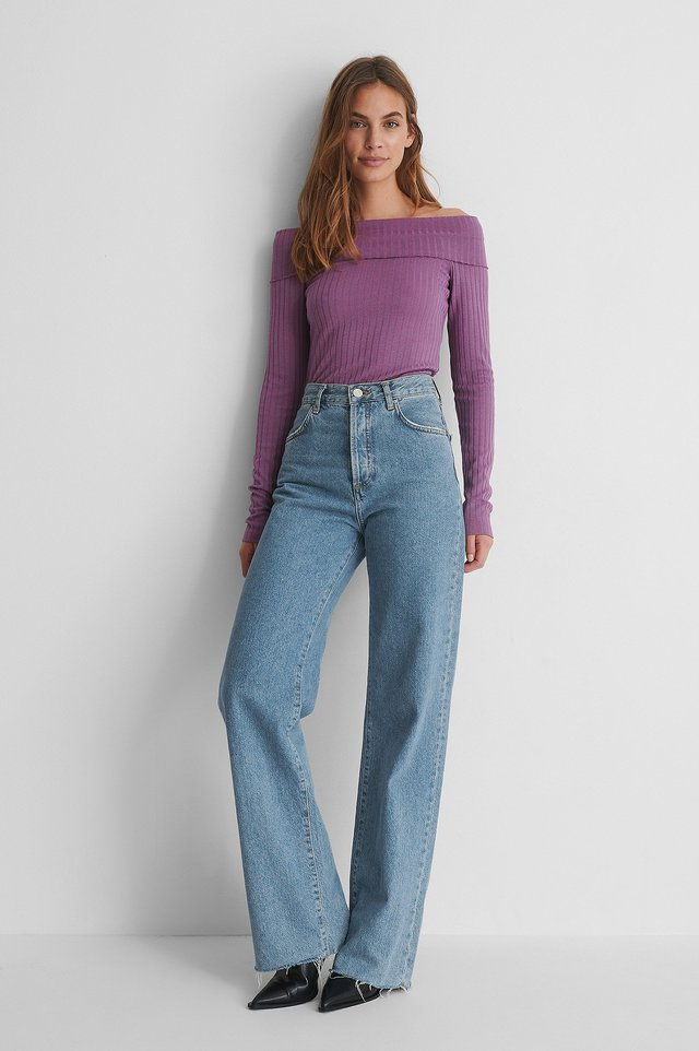 Long Sleeve Rib Overlap Top with Blue Jeans and Heels.