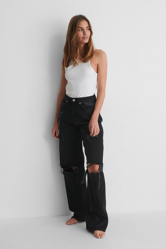 High Waist Wide Leg Destroyed Jeans with Rib Top.