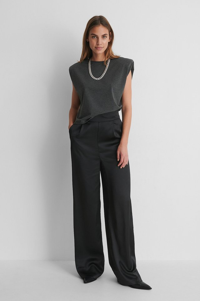 Wide Leg Satin Pants with Grey Top and Heels.