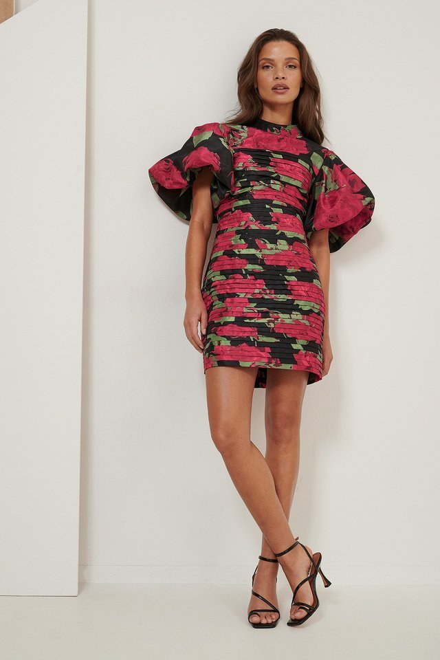 Volume Shoulder Mini Dress Outfit.