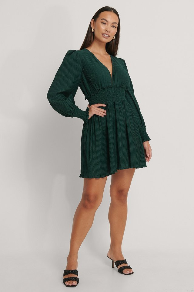 Structured Smock Waist Dress Outfit.