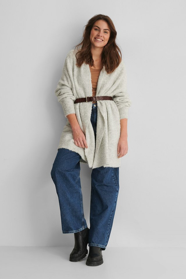 Melange Knit Cardigan Outfit.