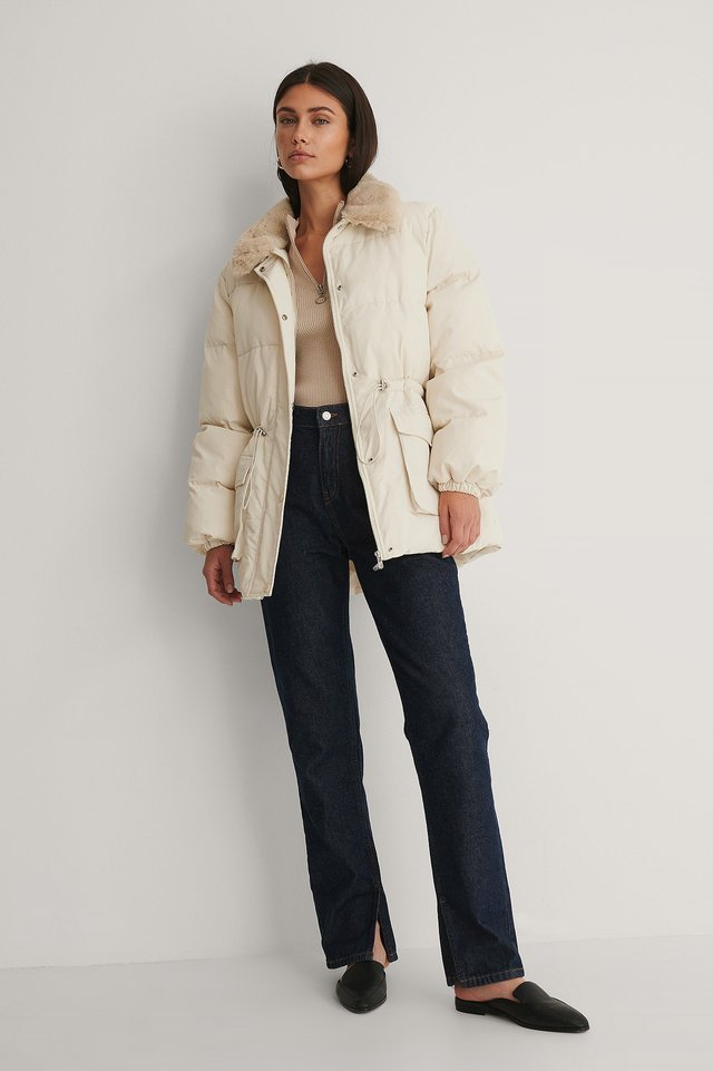 Drawstring Faux Fur Jacket Offwhite.