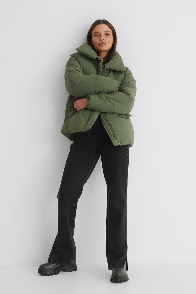 Nylon Puffer Jacket Green.