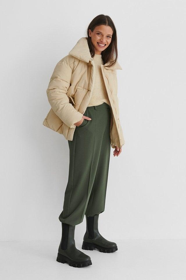 Nylon Puffer Jacket Beige.
