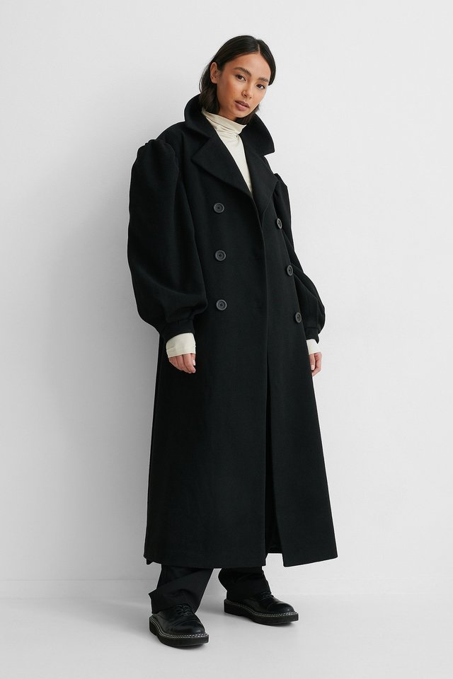 Balloon Sleeve Belted Coat Black.