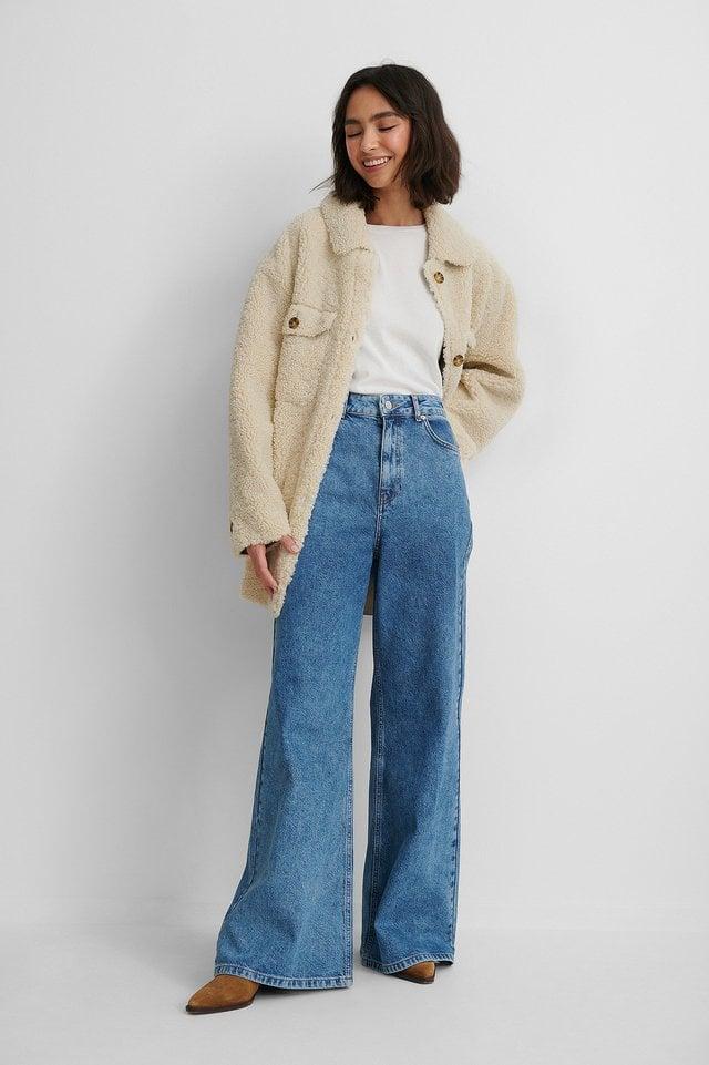 Mid Blue Riciclati Jeans Con Gamba Ampissima