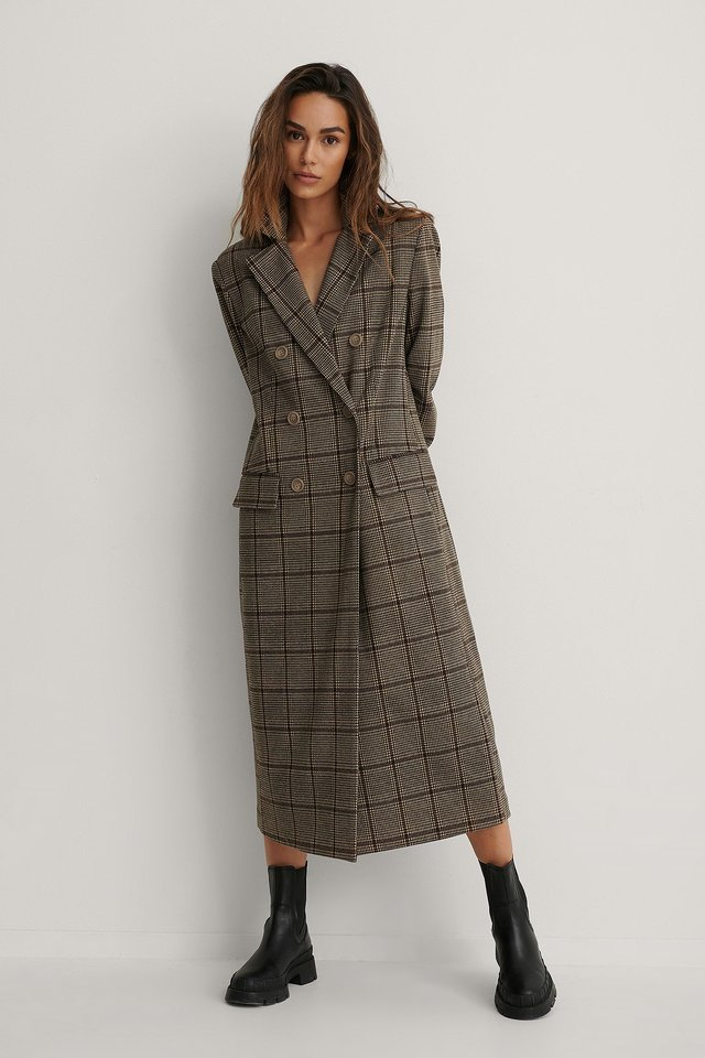 Marked Shoulders Double Buttoned Coat.