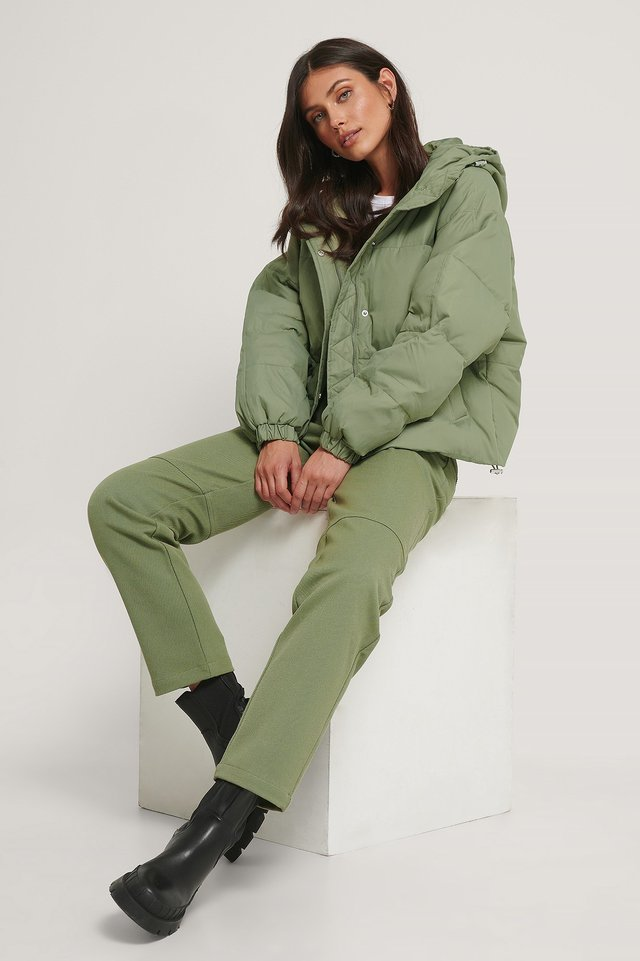 Padded Hood Drawstring Jacket.