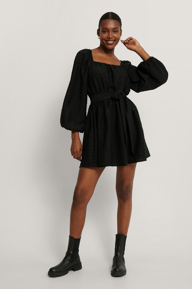 Tie Waist Structured Mini Dress Outfit.