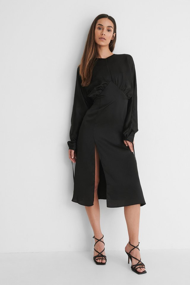 Open Back Side Slit Dress Outfit.