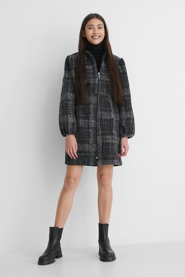 Zip Tweed Mini Dress Outfit.
