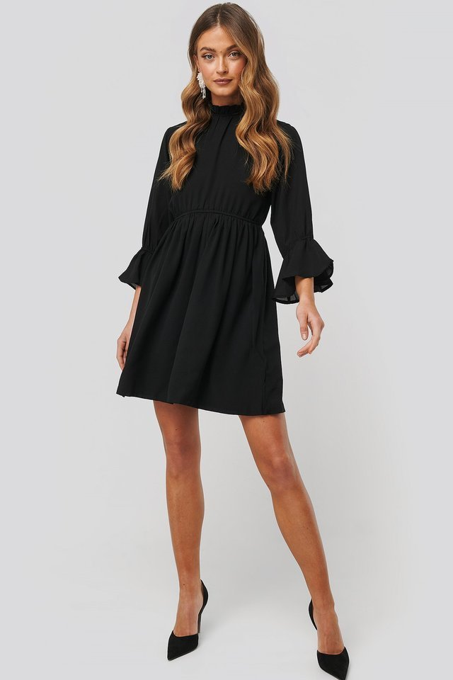 High Neck Flare Mini Dress Outfit.