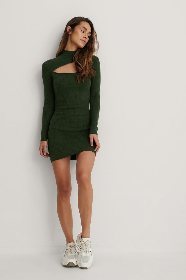 High Neck Detail Dress Outfit.