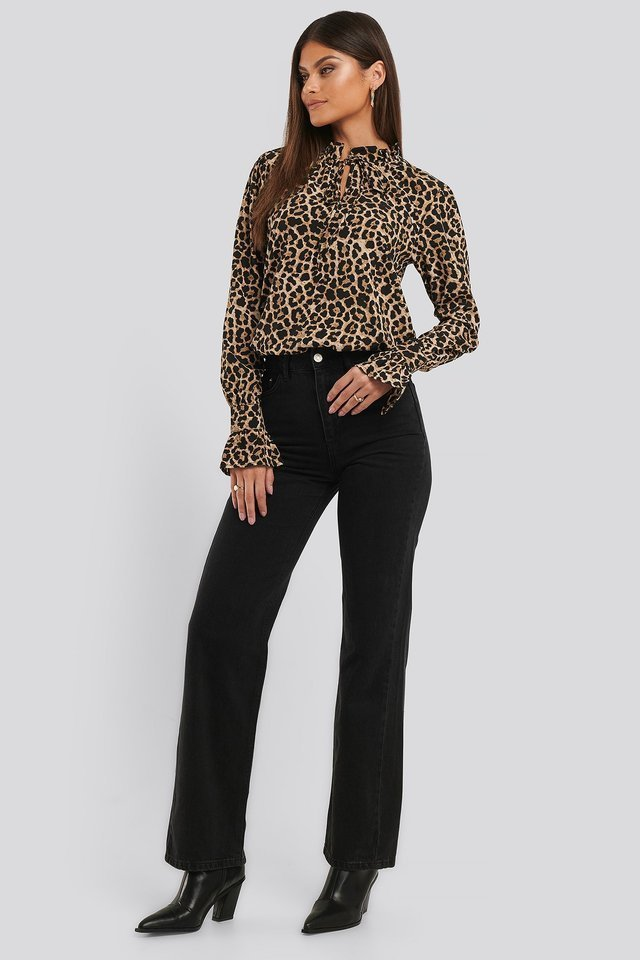 High Neck Leo Blouse Outfit.