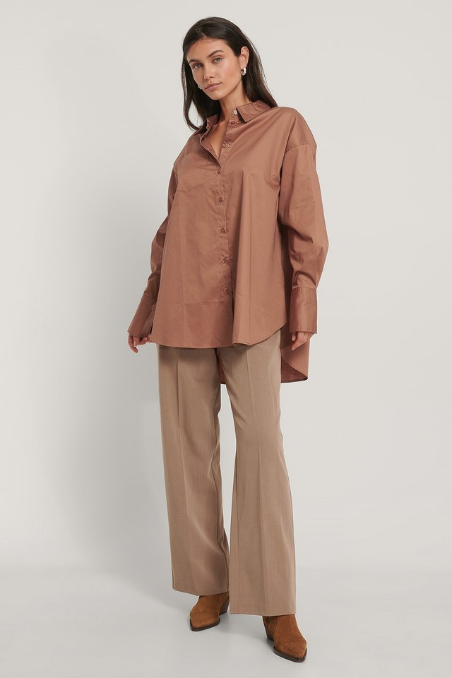 Rust Resirkulert Oversized Skjorte Med Lomme