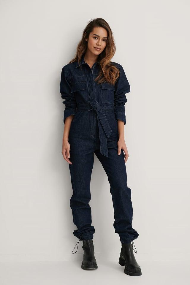 Front Pocket Denim Jumpsuit Outfit.