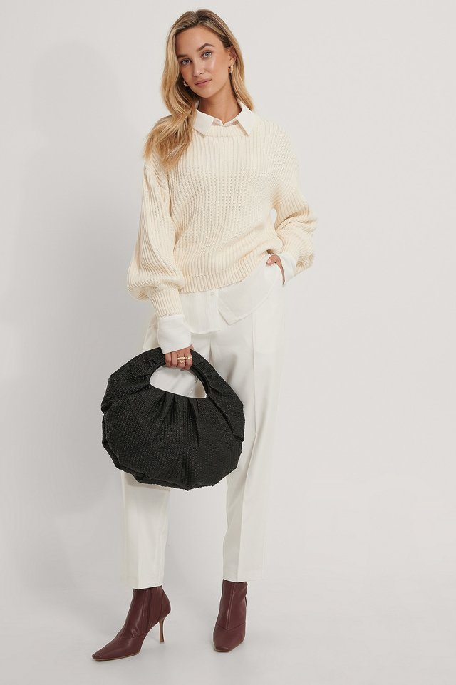 Organic Balloon Sleeve Round Neck Sweater Outfit.