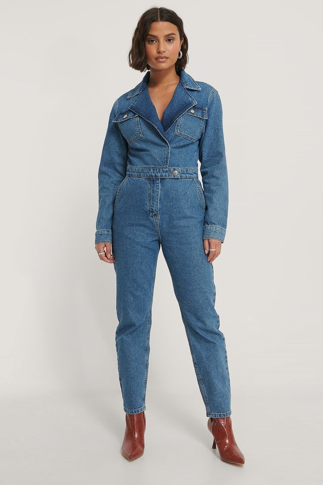 Organic Wrap Denim Jumpsuit Outfit.