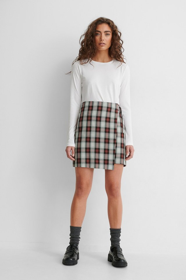 Checked Overlap Skirt Outfit.