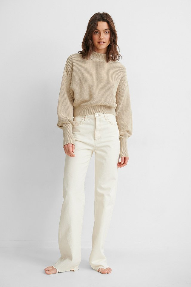 Volume Sleeve High Neck Knitted Sweater Outfit.