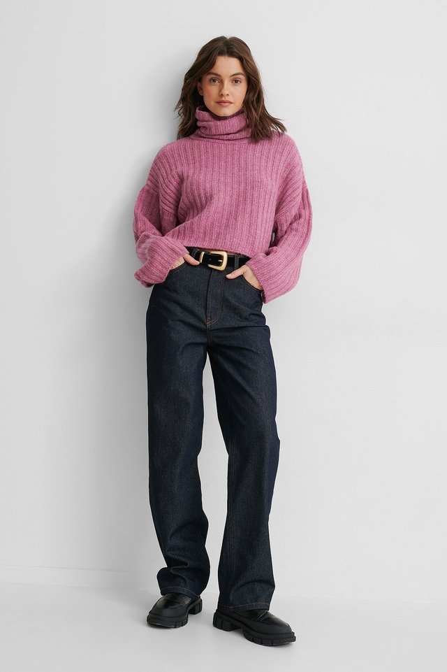 Turtleneck Rib Knit Sweater Outfit.