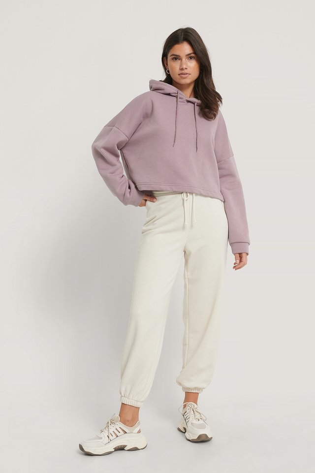 Purple Organic Basic Cropped Hoodie