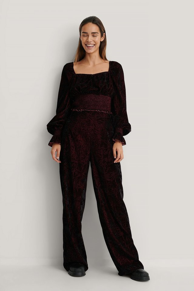 Velvet Smocked Top Outfit.