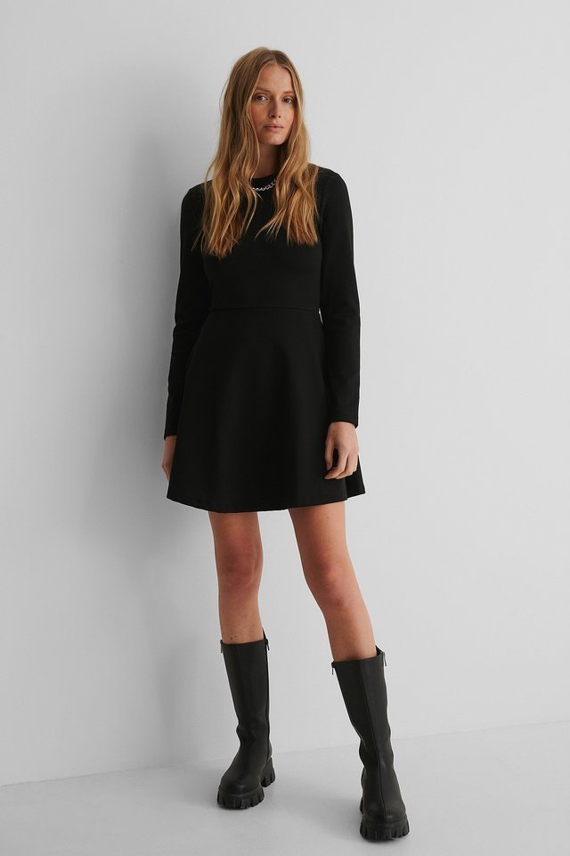 Long Sleeve Skater Dress Outfit.