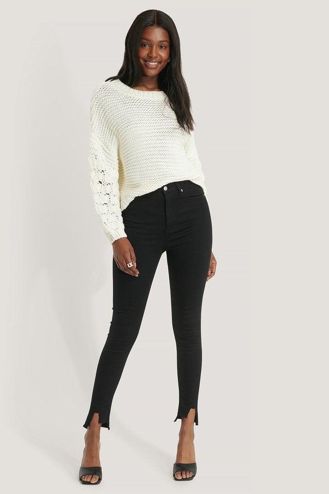 Organic Super High Waist Asymmetrical Hem Jeans Outfit.