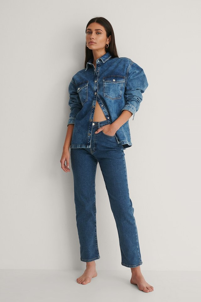 Organic Denim Overshirt Outfit.
