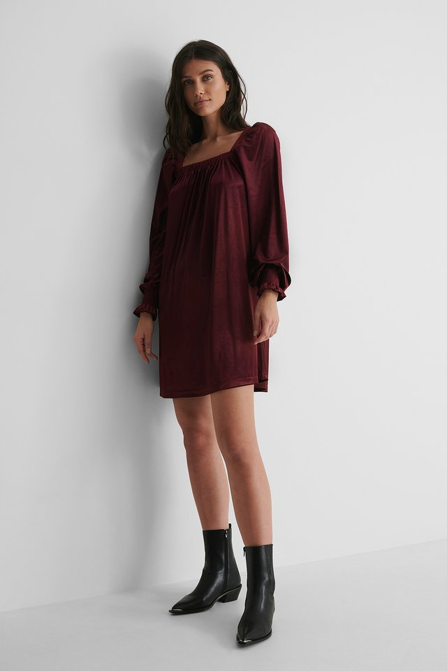 Square Neck Gather Dress with Boots.