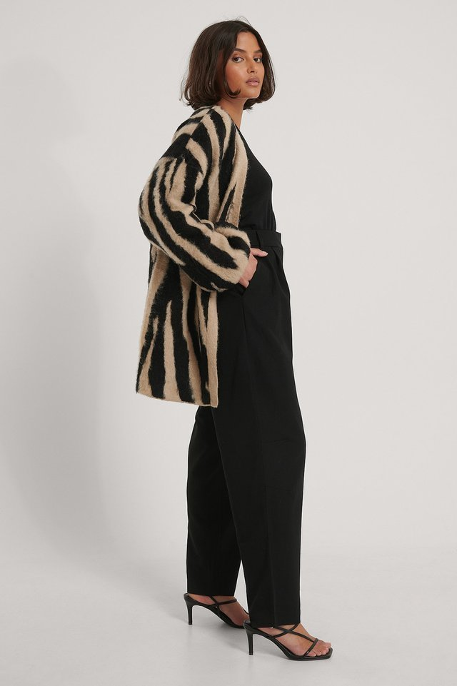 Zebra Knitted Oversized Brushed Cardigan Outfit.