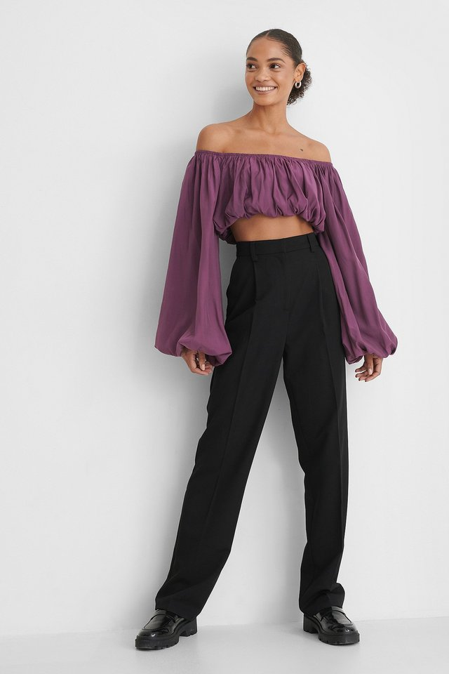 Balloon Long Sleeved Cropped Top Outfit.