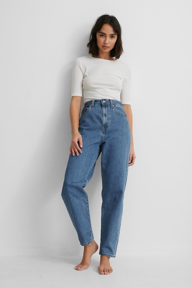 Levis High Loose Taper Jeans with White Top.