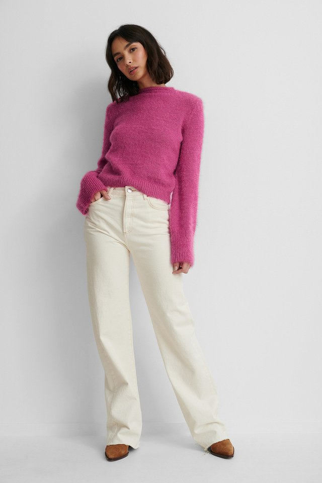 Hairy Knit Sweater with Wide Leg Jeans.