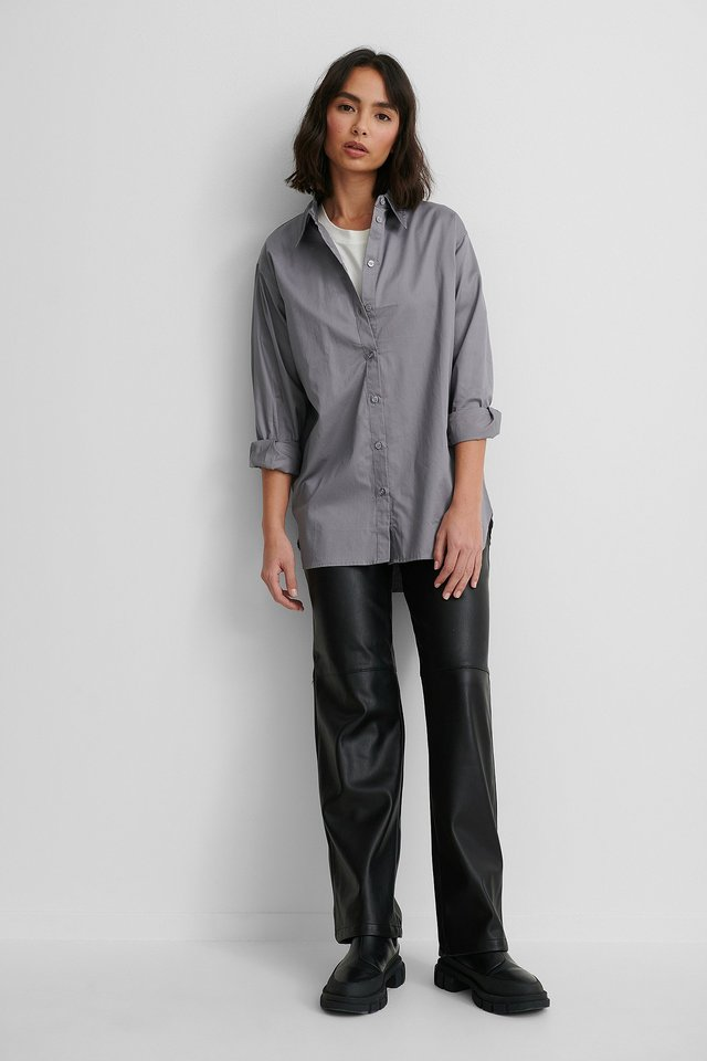 Oversized Shirt with PU pants.