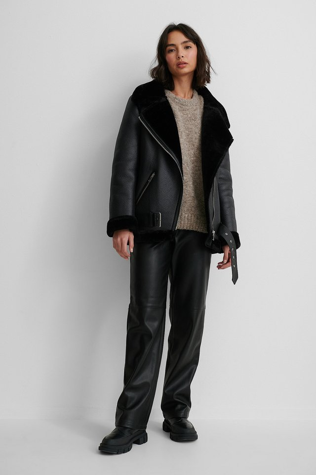 Bonded Aviator Jacket with Knitted Sweater and PU Pants.