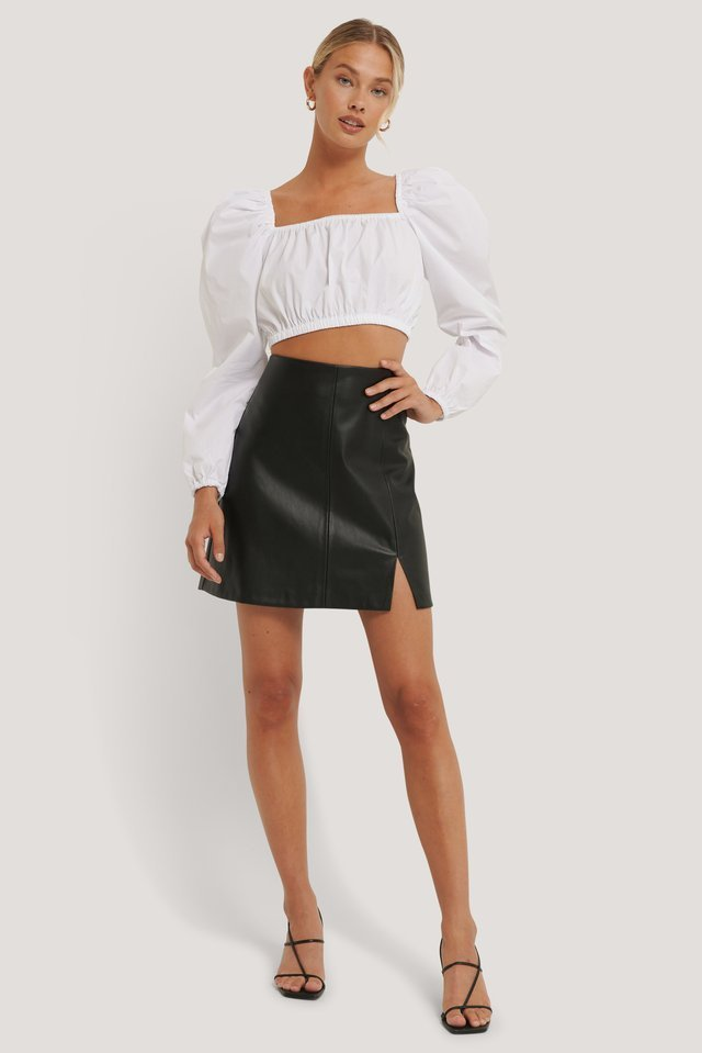 Mini Slit PU Skirt Outfit.