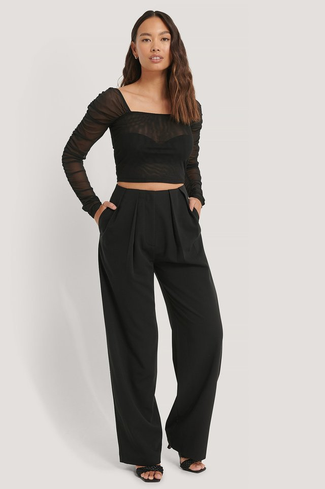 Ruched Mesh Top Outfit.