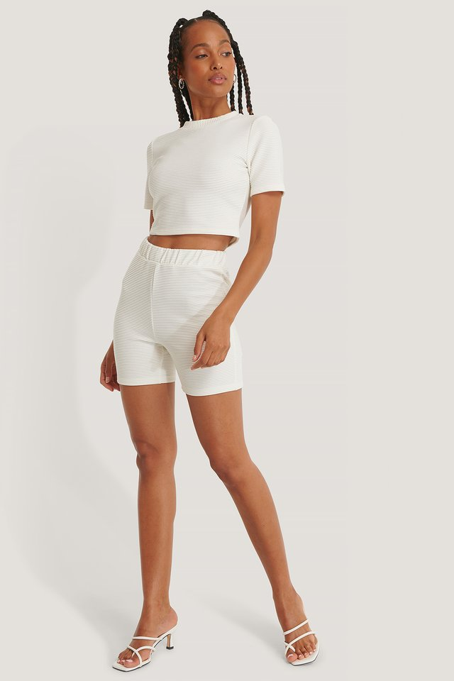 Ribbed Cropped Tee with Ribbed Shorts.