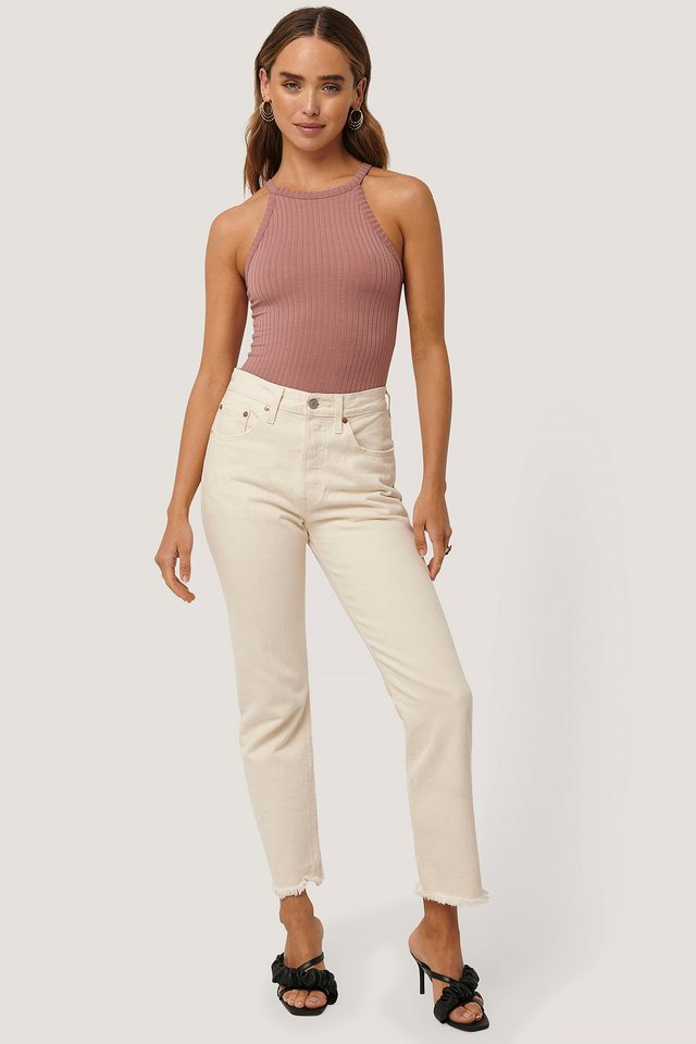 High Neck Ribbed Body with Jeans.