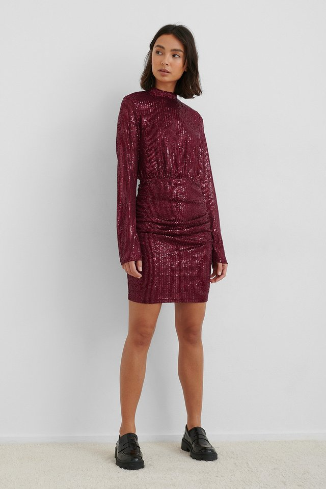 Rouched Sequin Dress with Loafers.