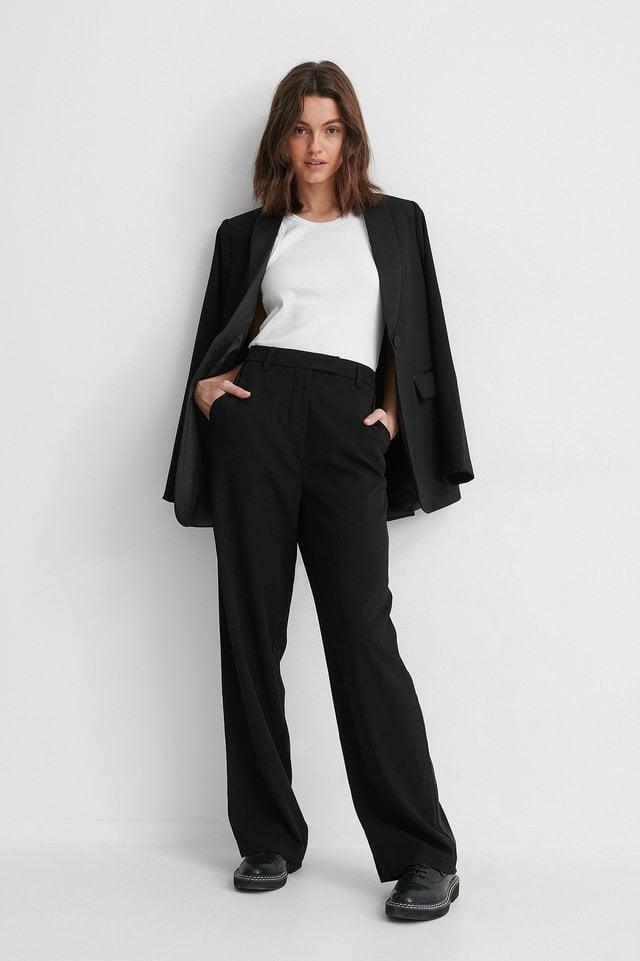 Satin Detail Suit Pants