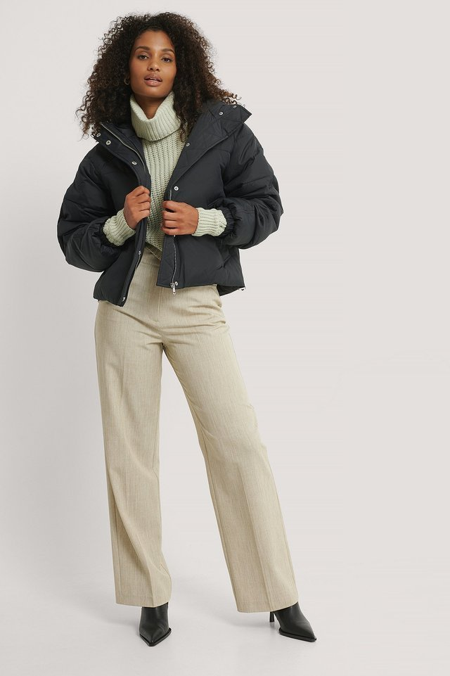 Padded Hood Drawstring Jacket Outfit.