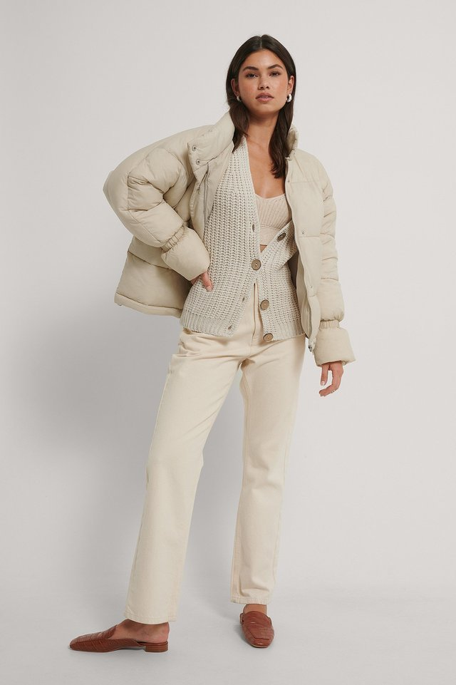 Elastic Detail Padded Jacket Outfit.
